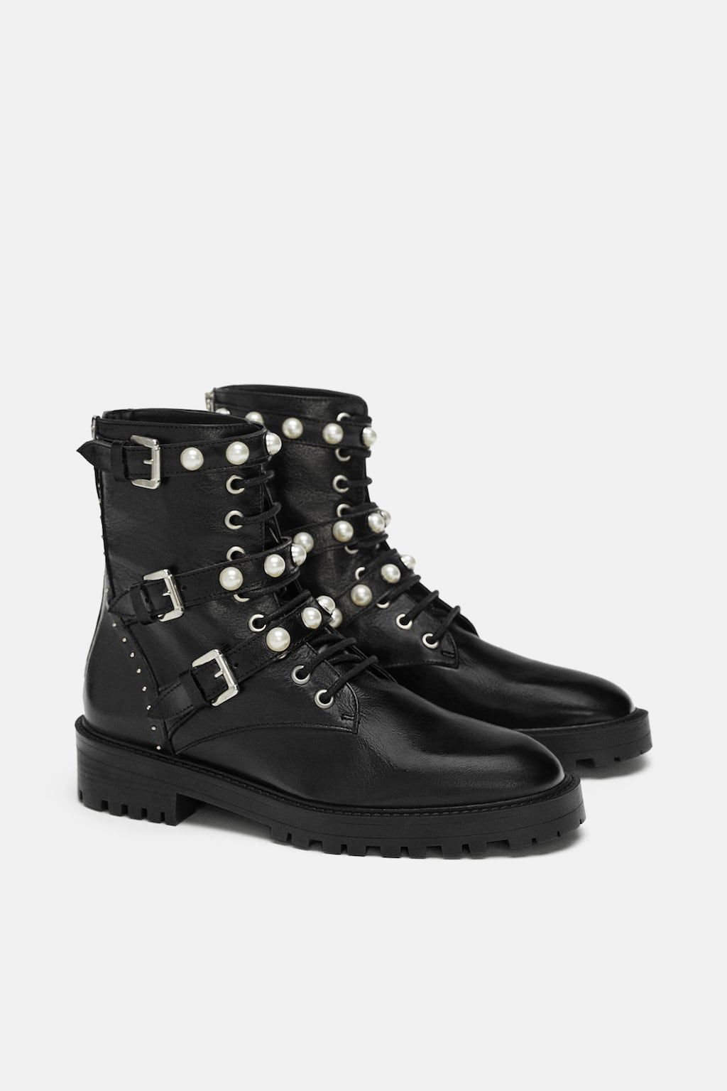 4f56d408862b Image 6 of LEATHER ANKLE BOOTS WITH FAUX PEARLS from Zara ...