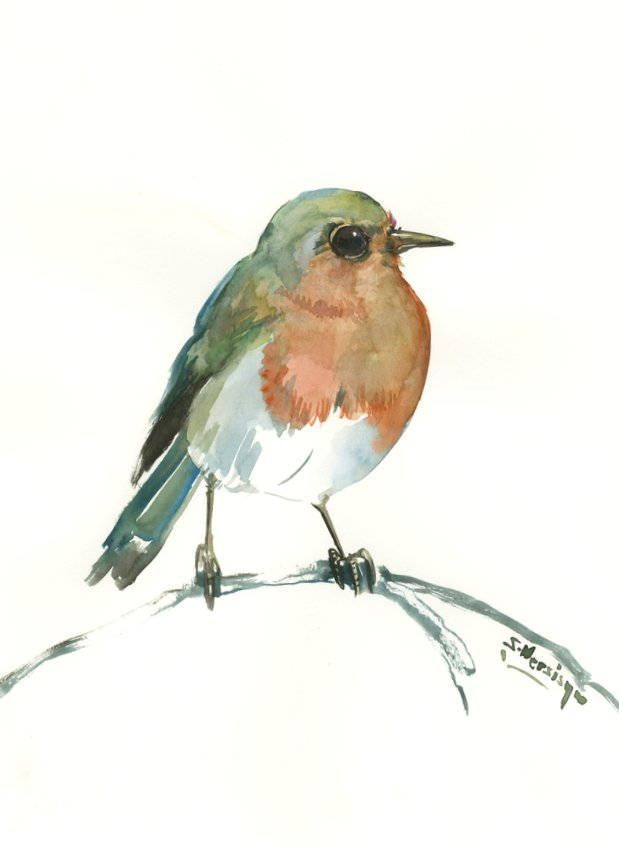 Robin Artwork 12 X 9 in, original watercolor painting by ORIGINALONLY on Etsy