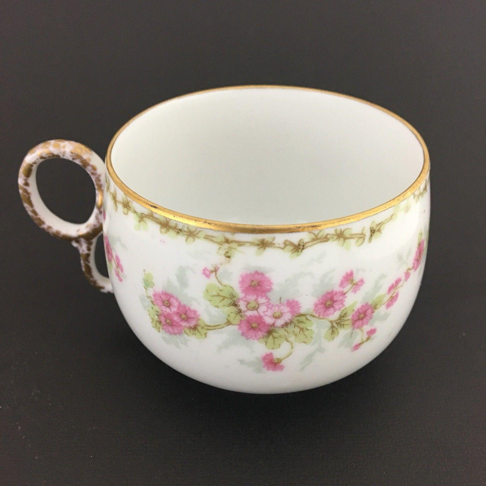 ELITE WORKS LIMOGES PINK ROSES FLORAL FANCY GOLD TEA CUP AND SAUCER