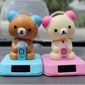 2pcs/lot Solar Power Shaking the Head Rilakkuma Car Accessory ...