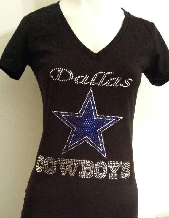 ecefd87e3 Dallas Cowboys Rhinestone Bling Shine V-Neck Fitted Tee T Shirt ...