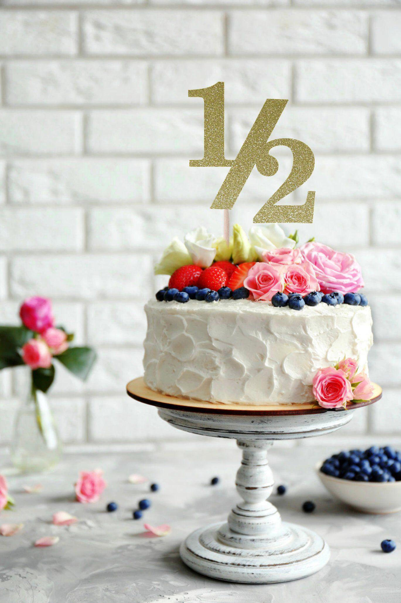Half Birthday Cake Topper 1 2