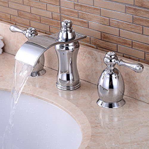 Wovier Chrome Waterfall Bathroom Sink Faucet,Two Handle T... https ...