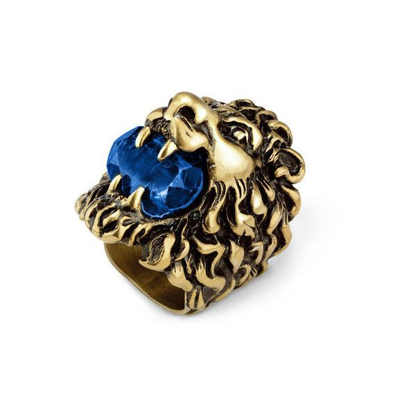 1155586c2 Gucci Lion Head Ring With Blue Crystal ($410) ❤ liked on Polyvore featuring  jewelry, rings, crystal jewellery, crystal jewelry, gucci, crystal stone  rings ...