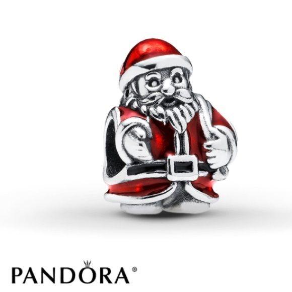 St. Nick Pandora Charm Item #791231ENMX - Red Enamel & Sterling Silver Pandora Jewelry