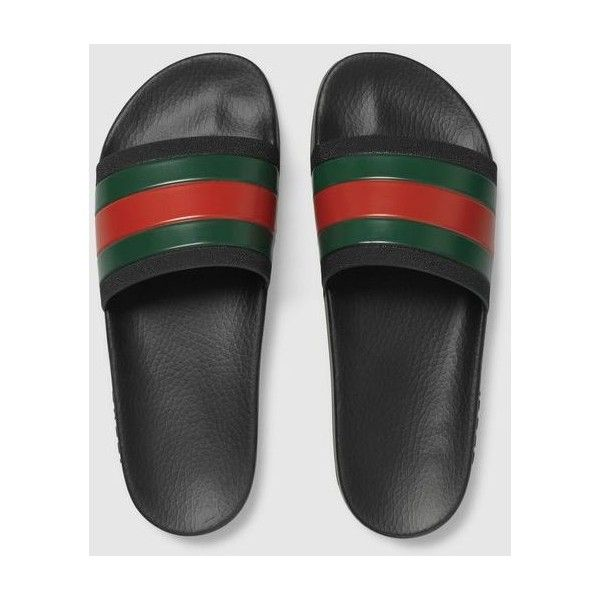 4ccada10fe2 Gucci Rubber slide sandal ❤ liked on Polyvore featuring shoes ...
