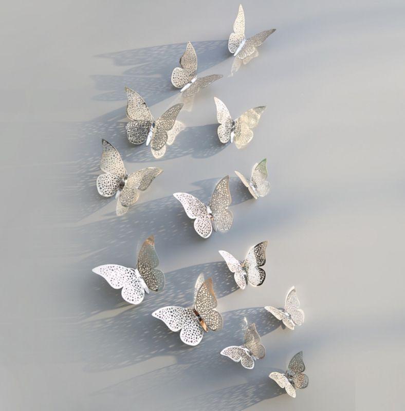 12 Stuks Zilveren 3d Vlinders Muurdecoratie 2 3d Vlinders Zilver Muurdecoratie Muurstickers Stickerk Slaapkamer Muurstickers Muurdecoratie Muurstickers