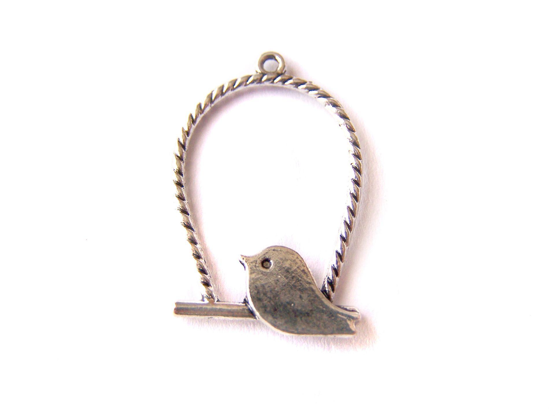 4 Breloques oiseau sur son perchoir 32x20mm (BT060) : Oiseaux par legrenierdegribouille