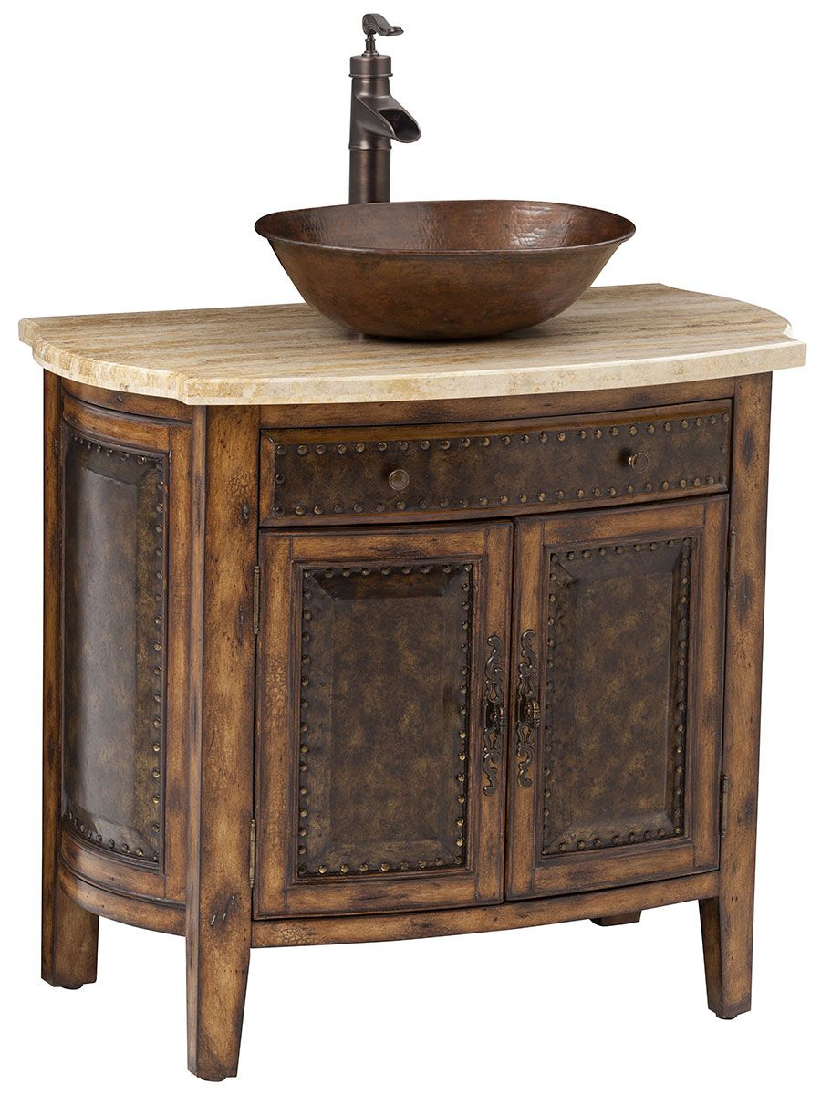 36 Rustico Single Vessel Sink Bath Vanity Traditional Bathroom Vanity Vessel Sink Bathroom Vanity Rustic Bathroom Vanities