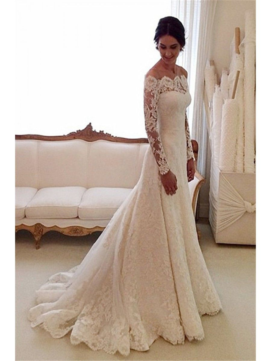 Wedding dresses with lace sleeves off the shoulder  Long Sleeves OfftheShoulder Lace Wedding Dresses Bridal Gowns