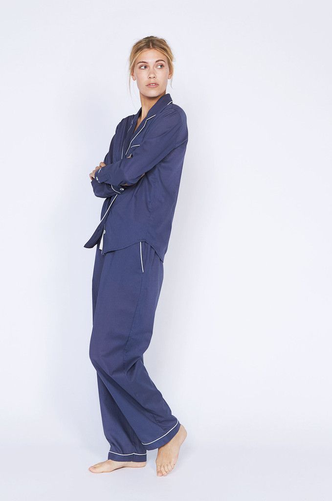 Dempsey Long Navy Luxury Cotton Womens Pyjama Set