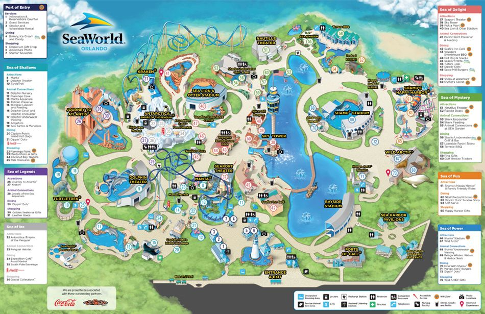 SeaWorld Park Map | SeaWorld Orlando | vacation | Theme park ...