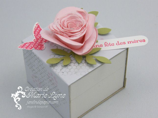 Décoration de boite avec Stampin'UP! #bigz #stampinup #fleurenspirale #jardindepapier