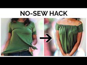 NO-SEW DIY   T-shirt to Off the Shoulder Top