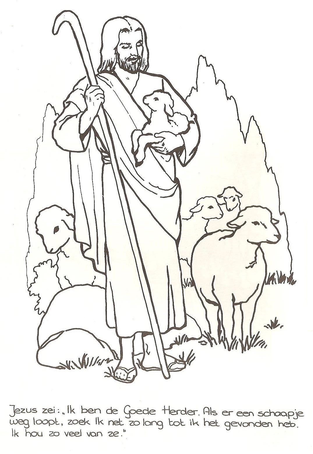 Jezus Is De Goede Herder Bijbel Kleurplaten Kleurboek Bijbel