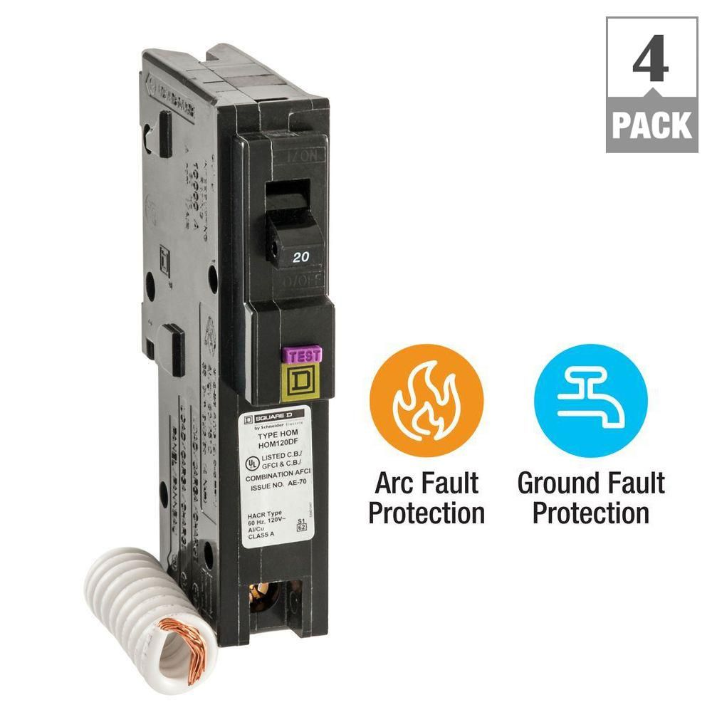 Square D Homeline 20 Amp Single Pole Dual Function Cafci And Gfci