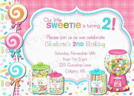 candy shoppe birthday invitations | Sweet Shoppe Birthday Invitation - Girl BDG025