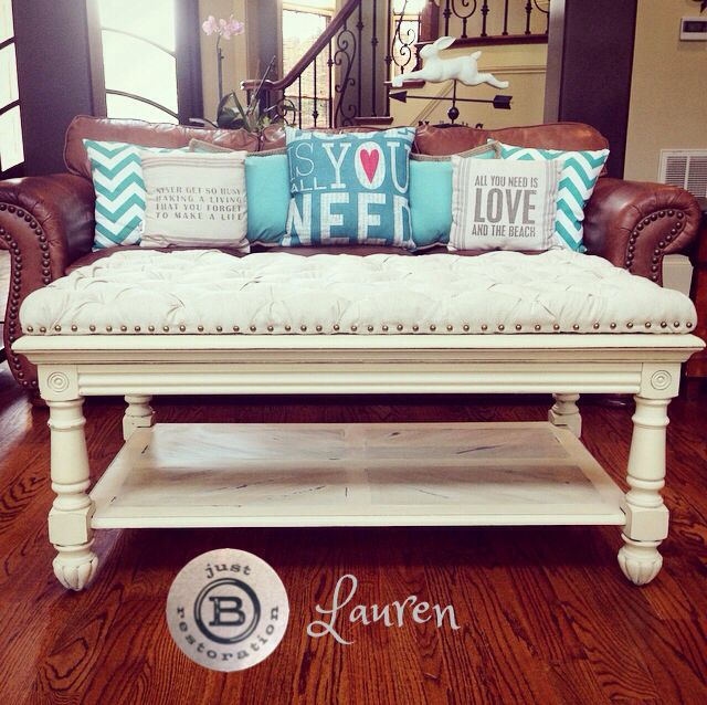 Painted And Tufted Coffee Table Or Ottoman Makeover