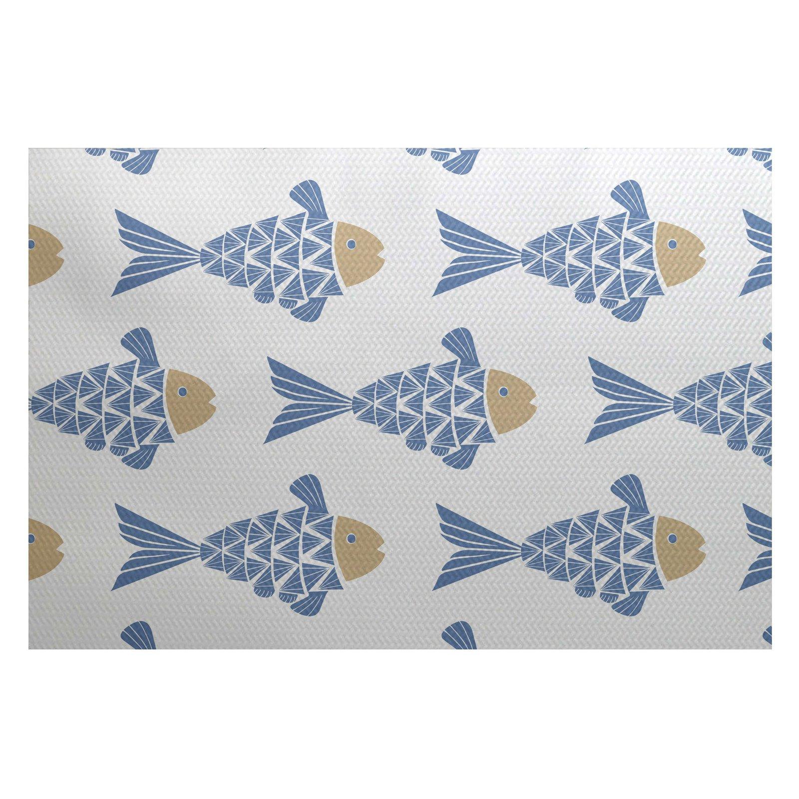 E By Design Fish Tales Indoor Outdoor Area Rug Blue Indoor
