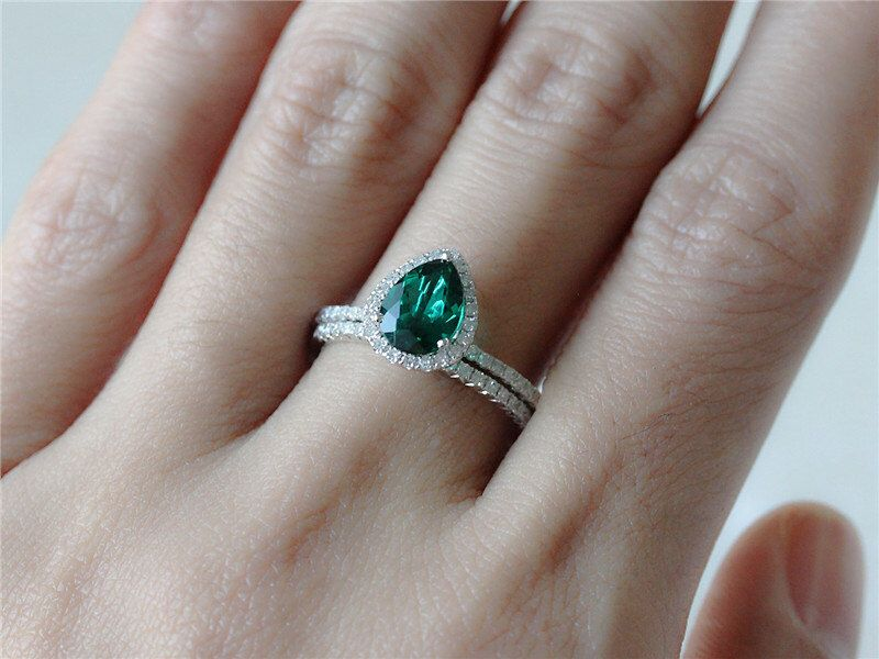 Handmade 6x8mm Pear Emerald Engagement Ring in 14k White Gold and Diamond Wedding Band Set Half Eternity Ring Diamond Band Stacking Ring by InOurStar on Etsy https://www.etsy.com/listing/198917276/handmade-6x8mm-pear-emerald-engagement