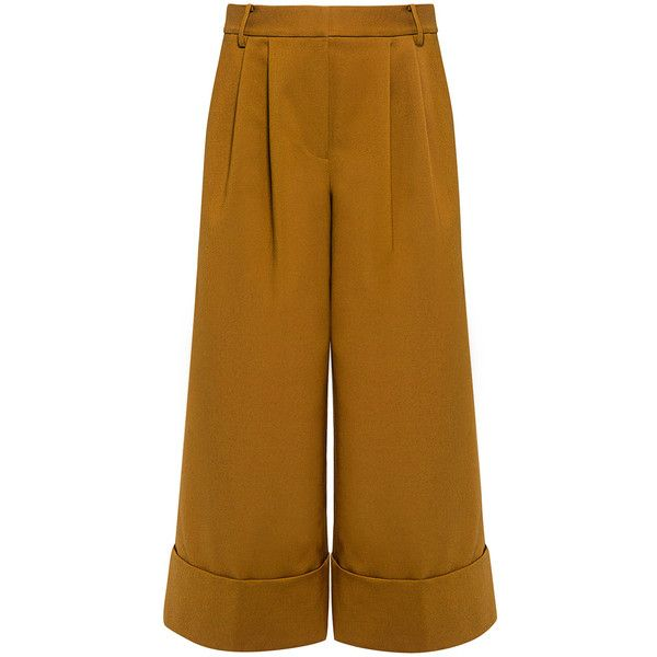Tibi - CITY Cropped Wide-leg Pleat Pants (£285) ❤ liked on Polyvore featuring pants, capris, bottoms, trousers, tailored pants, cuffed pants, brown crop pants, cuffed cropped pants and wide-leg pants
