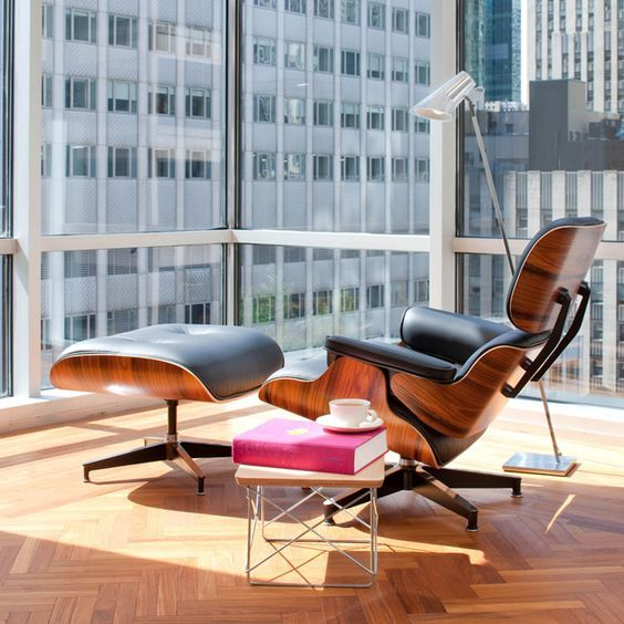 Classic Lounge Chair Ottoman Black In 2020 Eames Lounge Eames