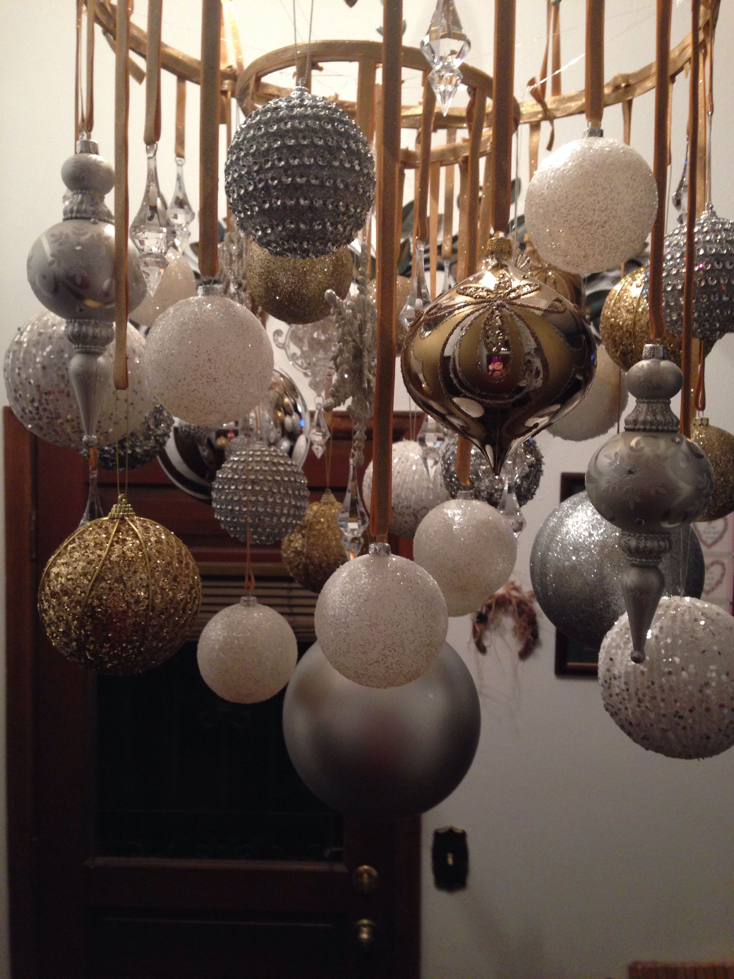 Gold silver white ornament chandelier custom created for a clients gold silver white ornament chandelier custom created for a clients christmas decor www arubaitofo Image collections