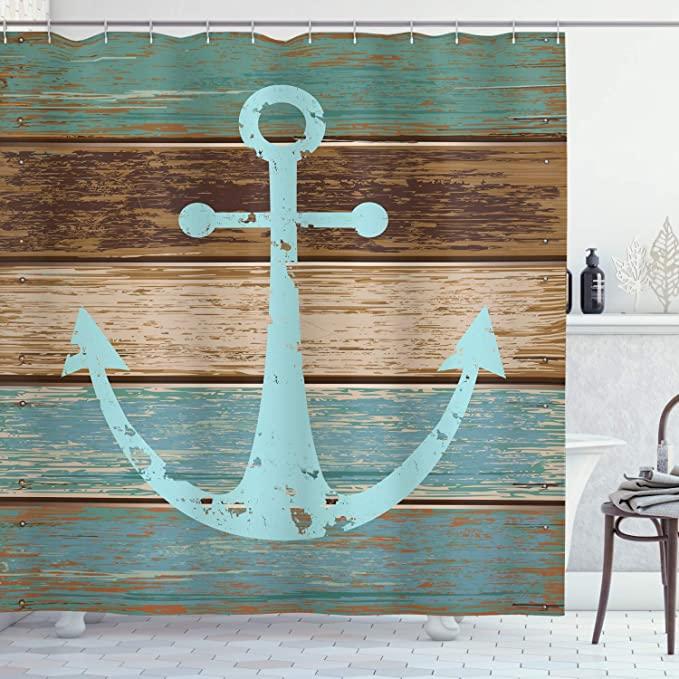 Amazon Com Ambesonne Anchor Shower Curtain Timeworn Marine On Weathered Wooden Planks Rus Nautical Shower Curtains Beach Shower Curtains Beach Bathroom Decor
