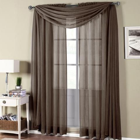 Abri Grey Rod Pocket Crushed Sheer Curtain Panel Sheer curtains