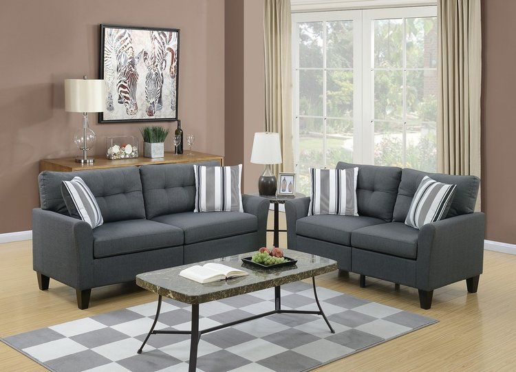 Best Charlie Charcoal Sofa Loveseat Set Living Room Sets 400 x 300