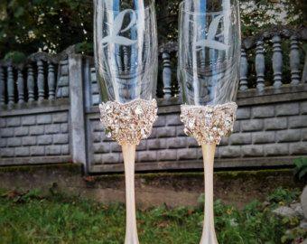 Gold Wedding Glasses And Cake Server Set Knife Ivory Silver Or