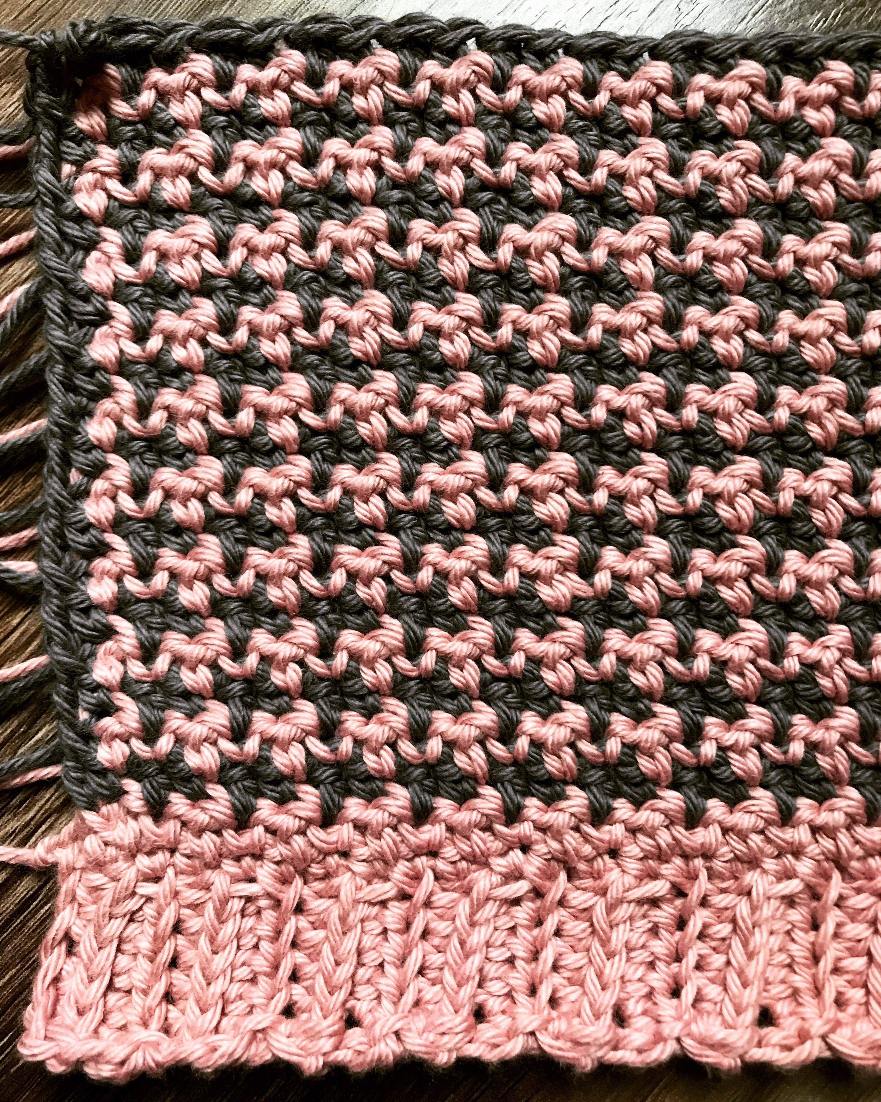 Pink and gray crochet houndstooth | 2017 Patterns & Designs ...