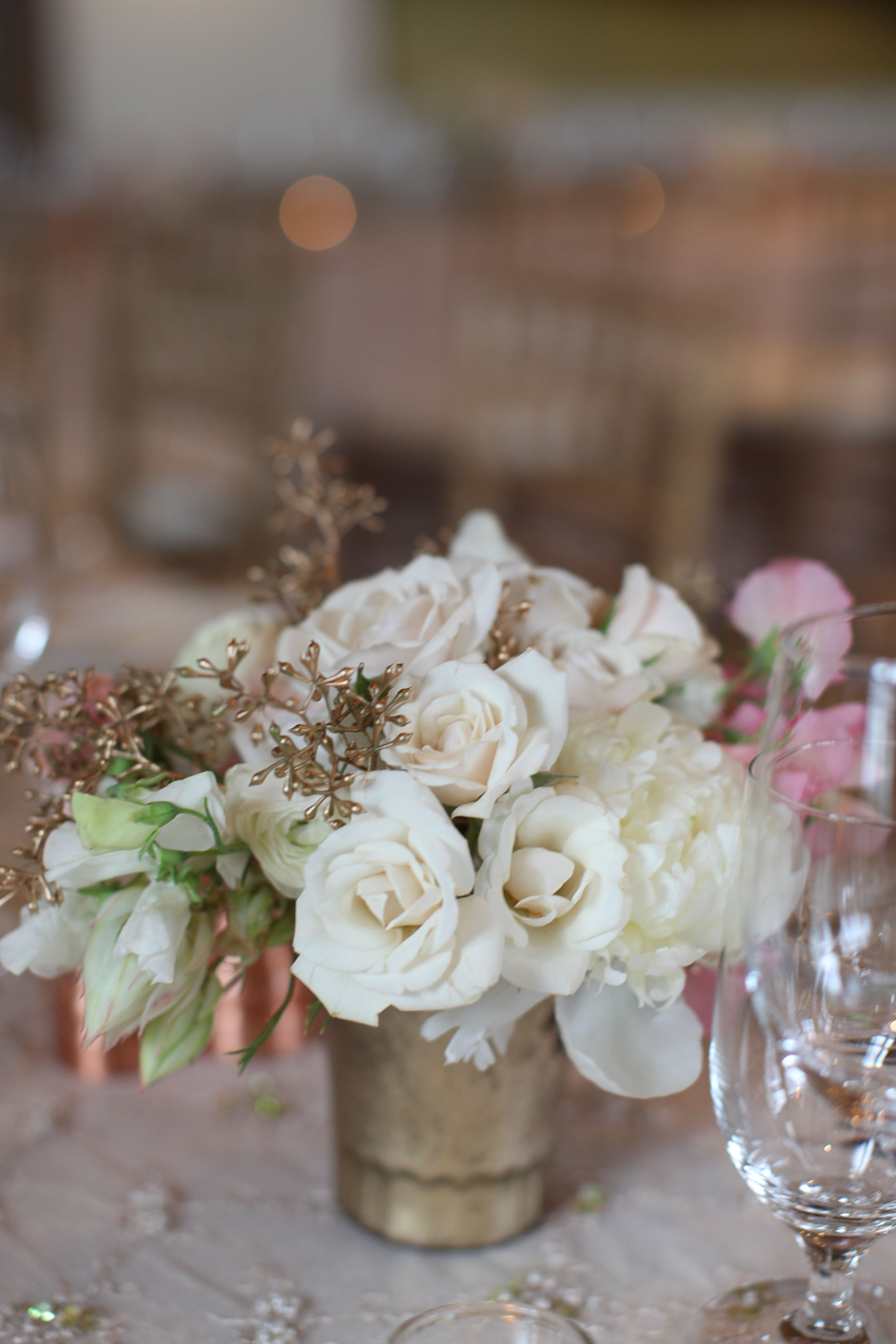 Gold And White Table Arrangement For Summer Aspen Wedding By