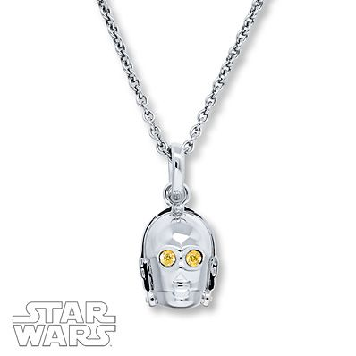 Star Wars R2-D2 Necklace Diamond Accents Sterling Silver pmtact