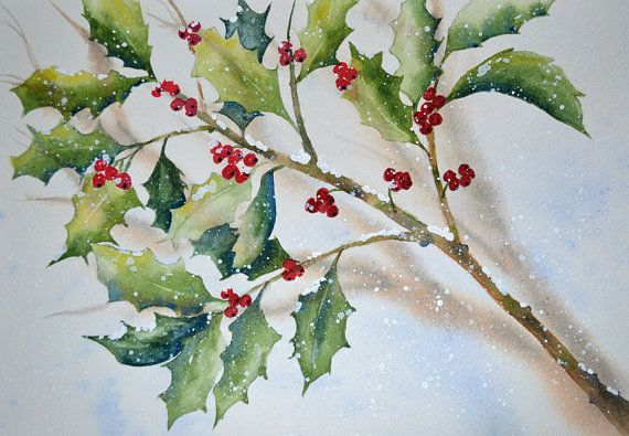 Holly Art Holly Tree Christmas Watercolor Painting Holly