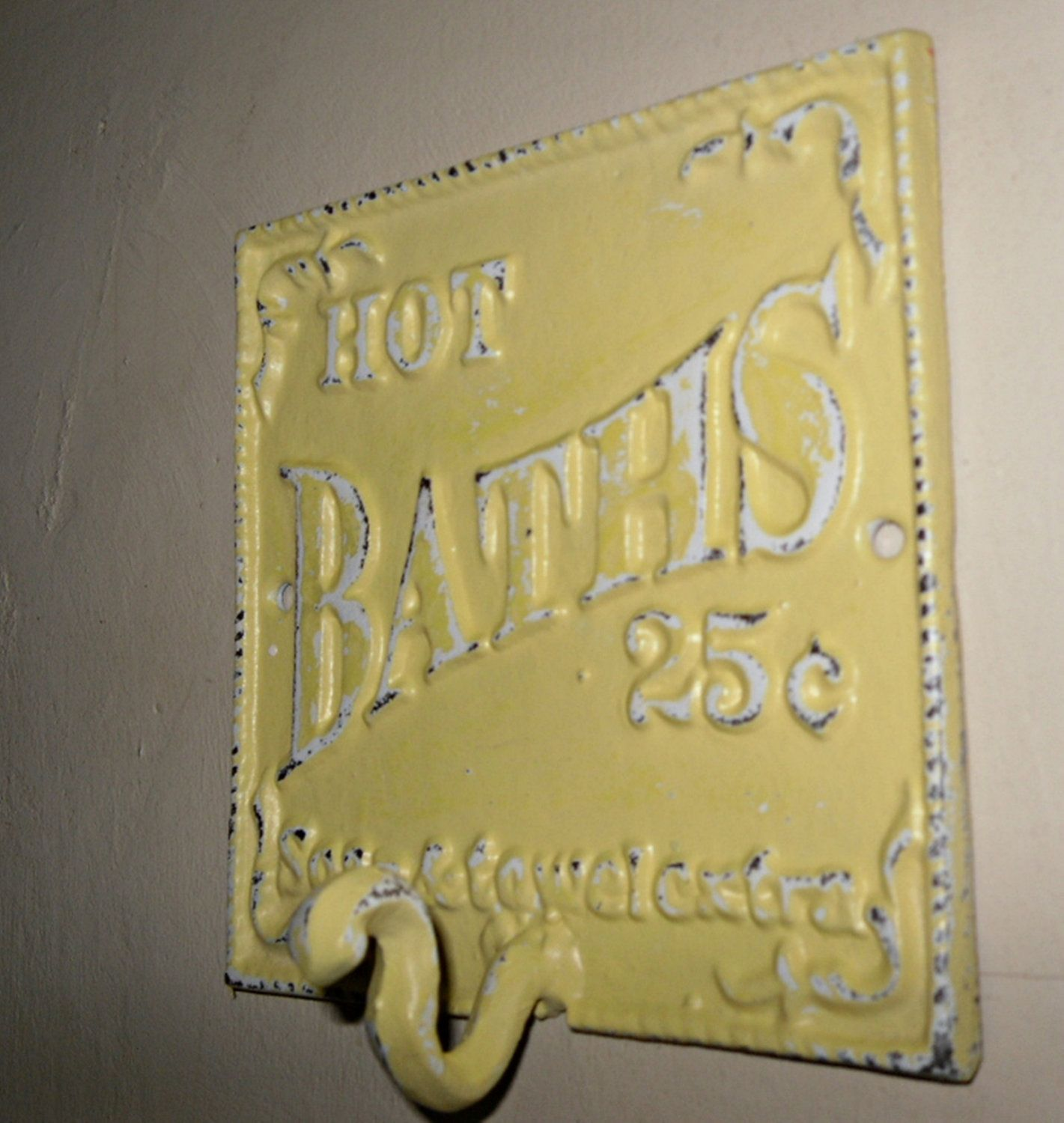 Cast Iron Bathroom Hook Sign Wall Hook Refinished in Daffodil Yellow ...