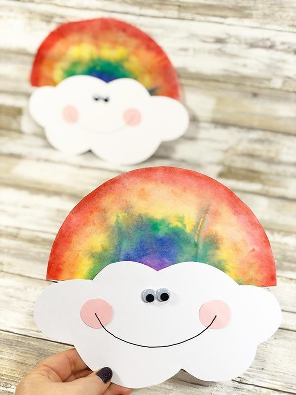 This Coffee Filter Rainbow is a fun spring craft for kids to make at home or at ...