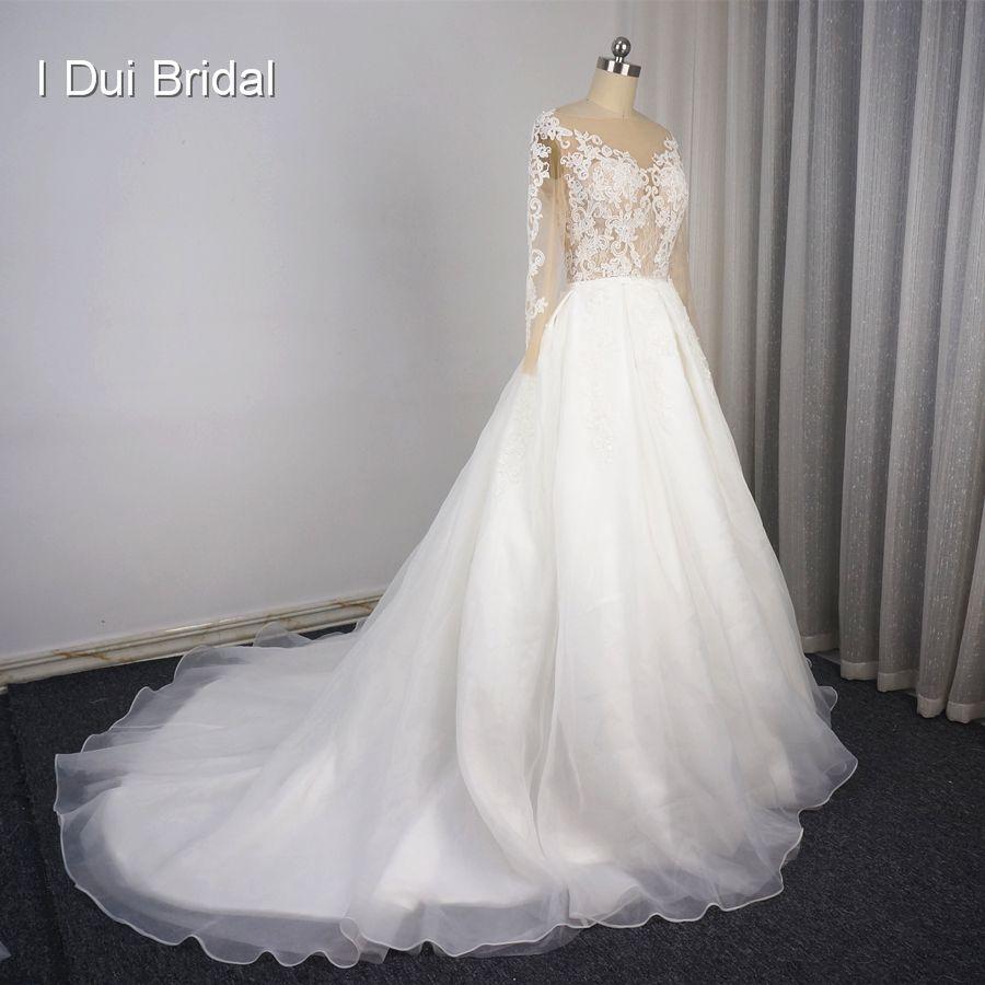 Illusion long sleeve detachable skirt wedding dresses lace appliqued