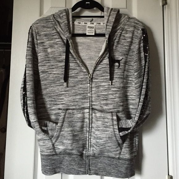 VS PINK Zip-Up Hoodie Worn once, perfect condition. No sequins missing. Open to offers using the offer button! LAST PHOTO IS NOT MINE, it's just to better show what the sleeves look like. PINK Victoria's Secret Tops Sweatshirts & Hoodies
