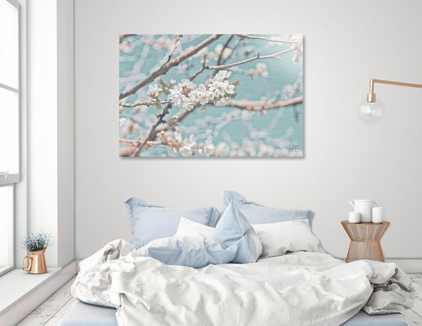 Discover «Apple blossom with elegant background», Limited Edition Acrylic Glass…