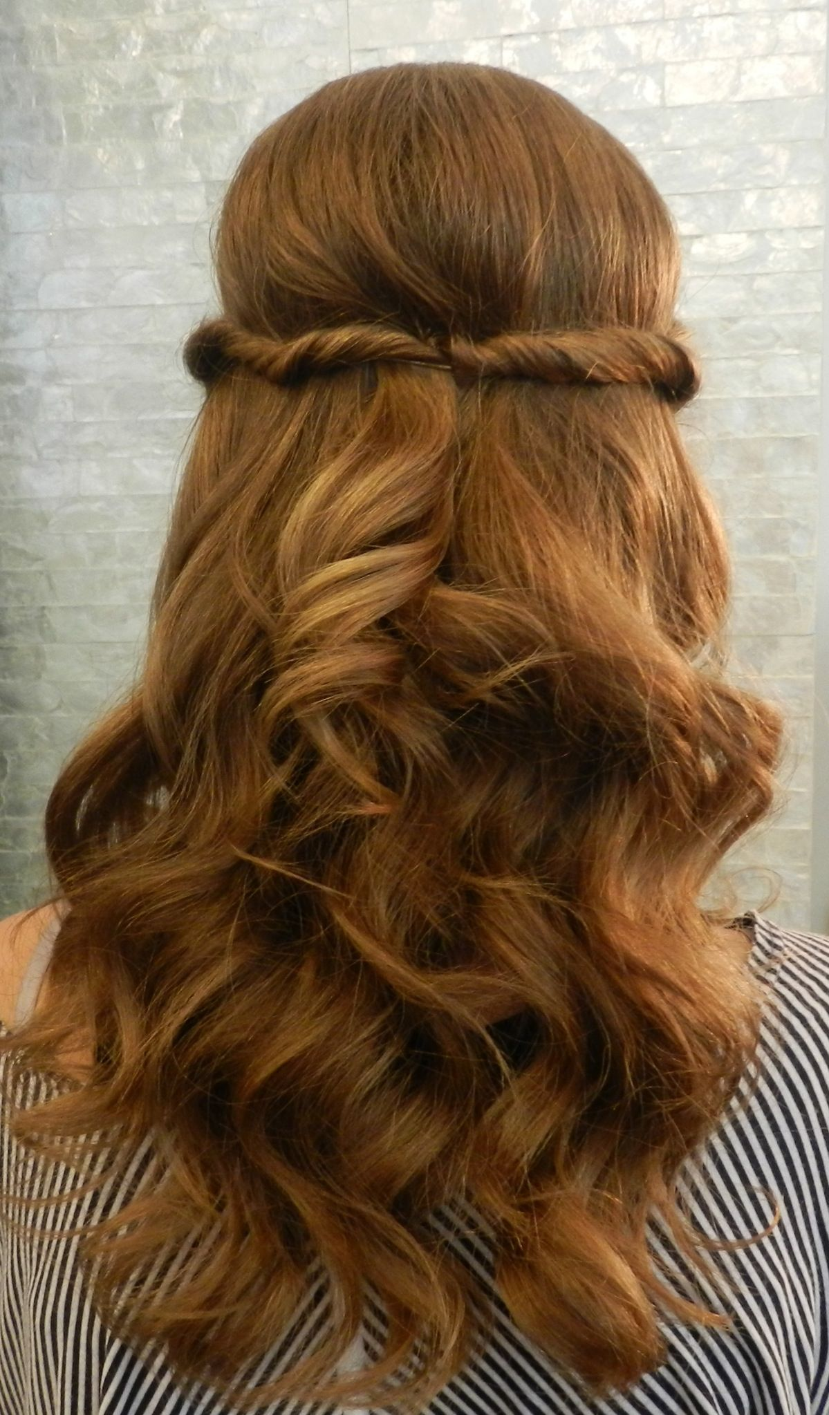8th grade graduation hair, so cute! half up updo. - by tina