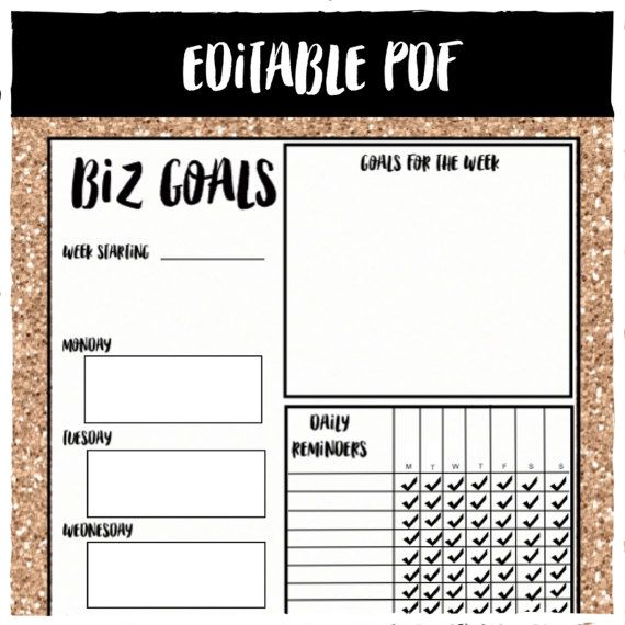 Editable Business Goal Template, Editable Pdf, Rose Gold