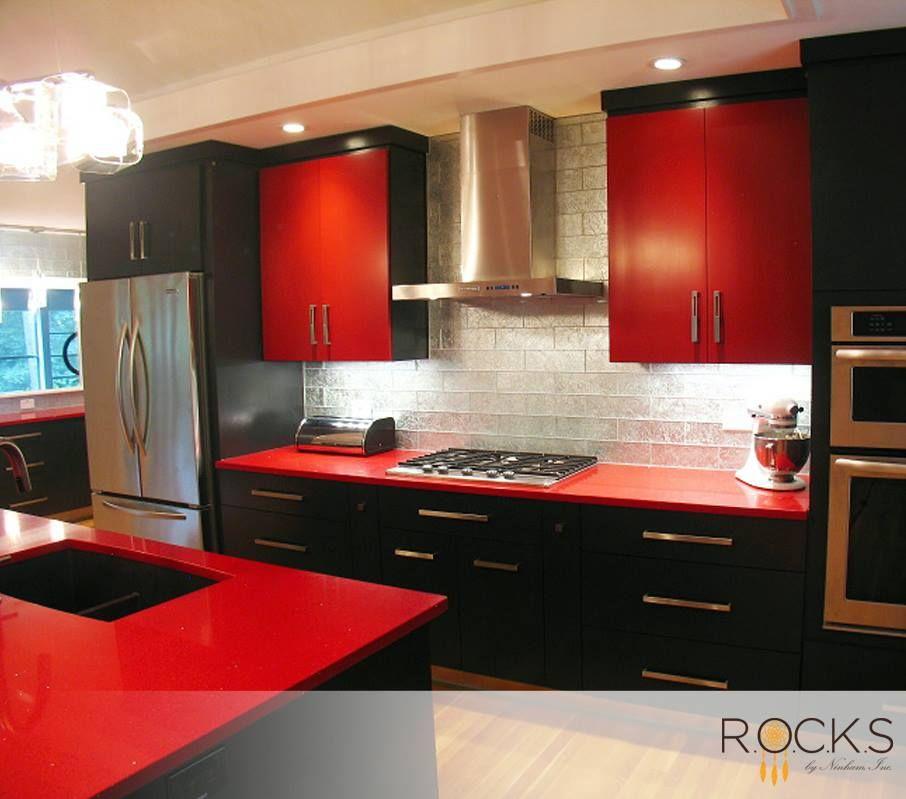 Pin de vane arboleda en casa en 2018 pinterest cocinas for Modelo de cocina rojo y gris