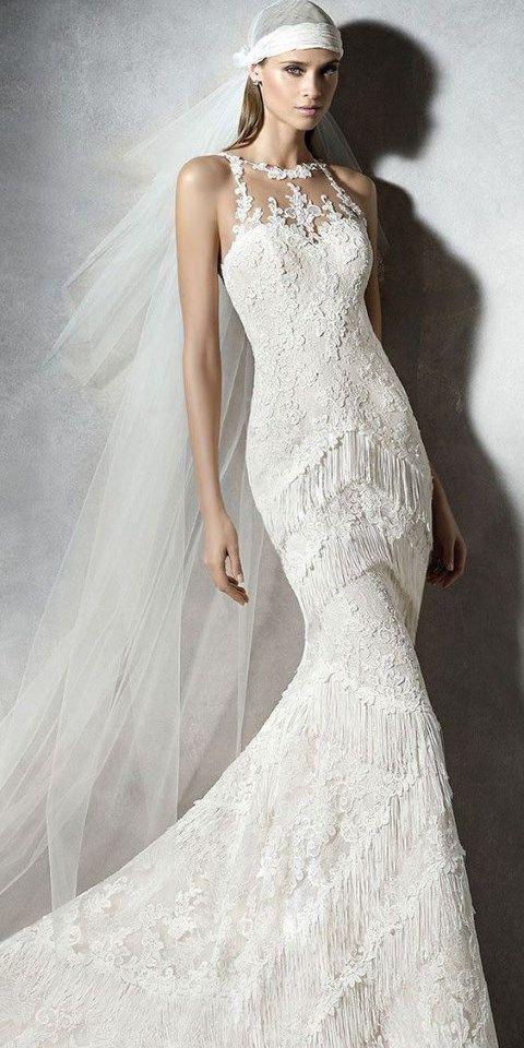20 Fringe Wedding Dresses That Catch An Eye: #7. Halter neckline lace fringe wedding gown