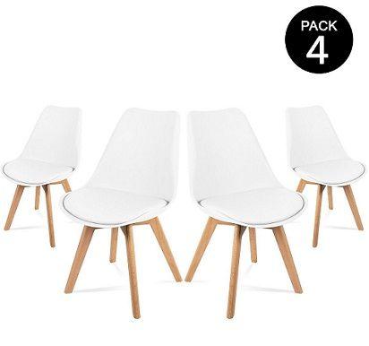 Pack de 4 sillas de comedor blancas de diseño nórdico