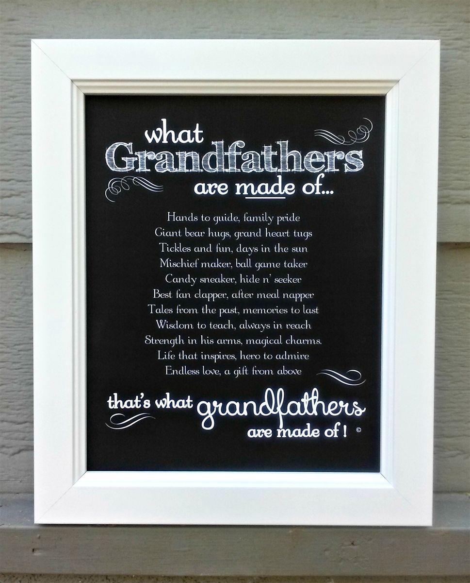 Grandfather Frame Grandfathers Made Of Poem Grandparent