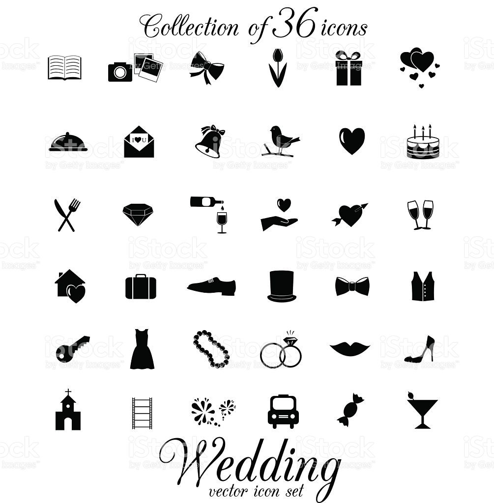 Collection Of 36 Vector Icons Selbstgemacht Wedding Bride Und