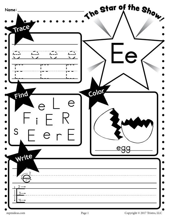 Free Letter E Worksheet Tracing Coloring Writing More Vicky