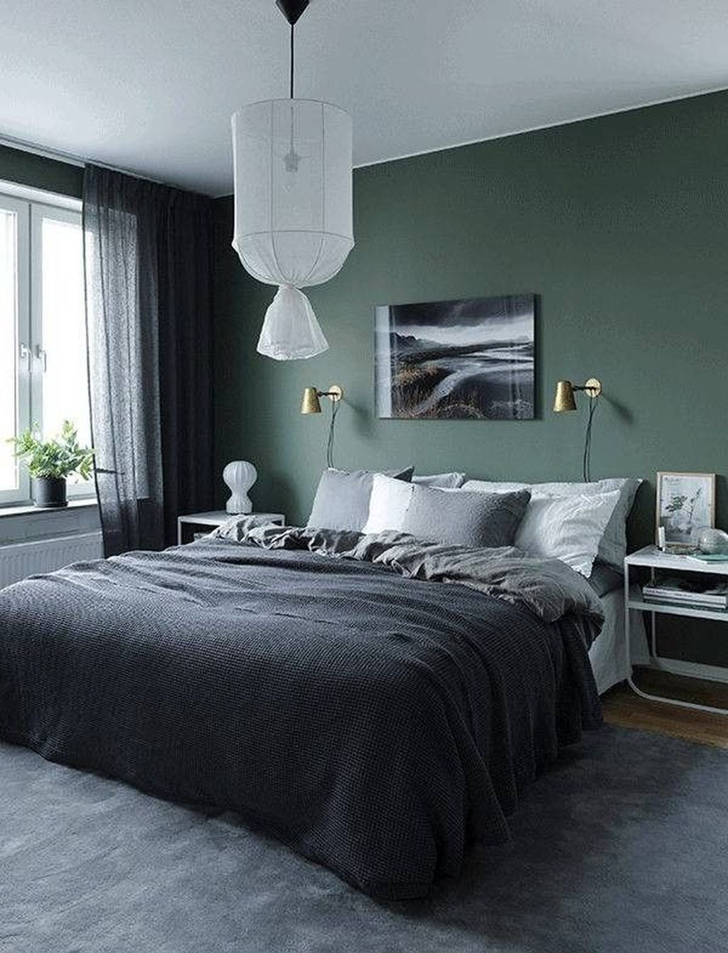 Cool 20 Modern Bedroom Decorating Ideas For Men Modern Mens Bedroom Grey With Dark Wood Walls And Green Bedroom Walls Home Decor Bedroom Dark Bedroom Walls