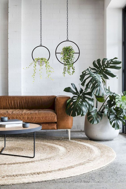 Photo of Plant Hanger Set, Hanging Planter Set, Mid-Century Planter, Metal Art Decor, Circular Metal Planter, Housewarming Gift
